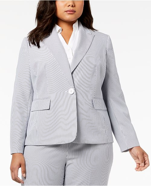 Le Suit Plus Size Seersucker Pantsuit Wear To Work Women Macys