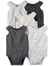 Carter's 5-Pk. Printed Cotton Bodysuits, Baby Girls
