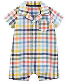 Carter's Baby Boys Multicolor Plaid Cotton Romper