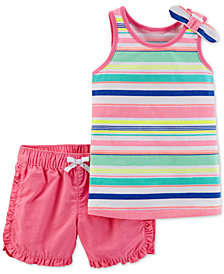 Carter's Baby Girls 2-Pc. Striped Cotton Top & Shorts Set