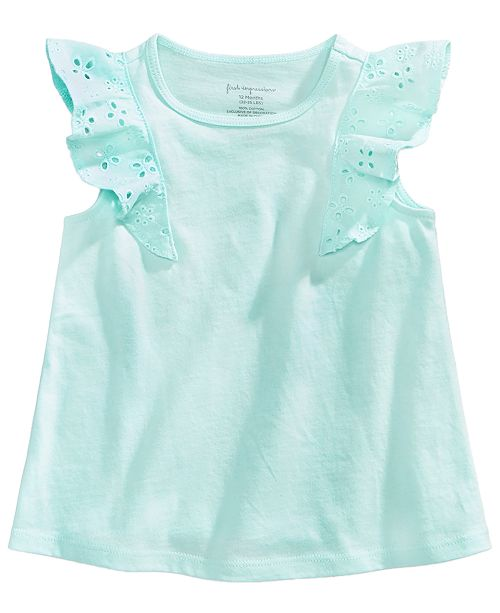 Eyelet-Sleeve Cotton Top, Baby Girls, Created for Macy's