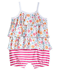First Impressions Baby Girls Floral & Striped Cotton Romper, Created for Macy's