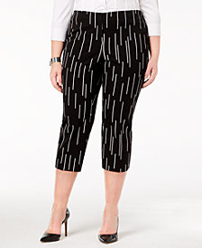 Alfani Plus Size Printed Capri Pants, Created for Macy's