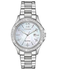 Eco-Drive Women's Elektra Diamond-Accent Stainless Steel Bracelet Watch 32mm