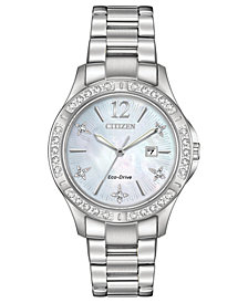Citizen Eco-Drive Women's Elektra Diamond-Accent Stainless Steel Bracelet Watch 32mm