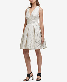 DKNY Metallic Jacquard Fit & Flare Dress, Created for Macy's