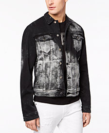 GUESS Men's Rex Studded Destroyed Denim Jacket