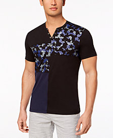 I.N.C. Men's Pieced Colorblocked Split-Neck Snap T-Shirt, Created for Macy's