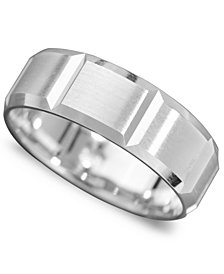 Men's 14k White Gold Ring, Vertical Cut Band (Size 6-13)