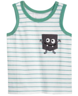 Striped Monster-Pocket Cotton Tank Top, Baby Boys, Created for Macy's