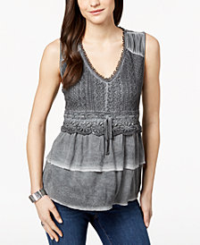 Style & Co Petite Lace Tiered Top, Created for Macy's