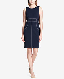 Calvin Klein Topstitched Sheath Dress
