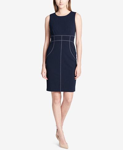 Calvin Klein Topstitched Sheath Dress