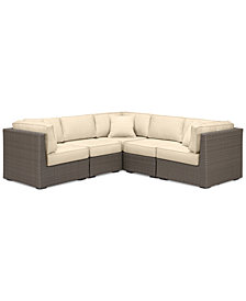 South Harbor Outdoor 5-Pc. Modular Seating Set (3 Corner Units & 2 Armless Units), with Custom Sunbrella® Colors, Created for Macy's