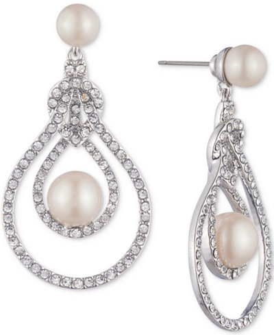 Carolee Silver Tone Pave Imitation Pearl Openwork Drop Earrings