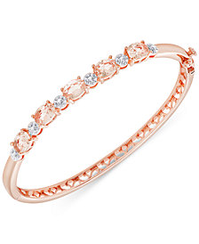 Diamond Accent and Cubic Zirconia Bangle Bracelet in 18k Rose Gold-Plate