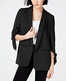 Bar III Tie-Sleeve Blazer, Created for Macy's