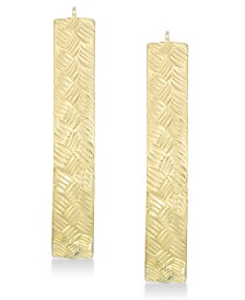 Signature Gold™ Diamond Accent Textured Pear-Shape Hoop Earrings in 14k Gold over Resin