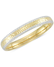 Two-Tone Textured Bangle Bracelet in 14k Gold & White Gold over Resin