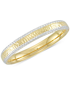 Signature Gold™ Two-Tone Textured Bangle Bracelet in 14k Gold & White Gold over Resin