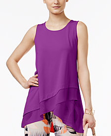 Alfani Mixed-Media Crossover Tunic, Created for Macy's