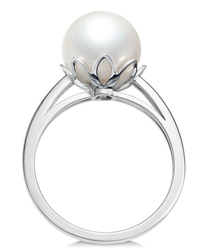 Cultured White South Sea Pearl (10mm) Ring in 14k White Gold
