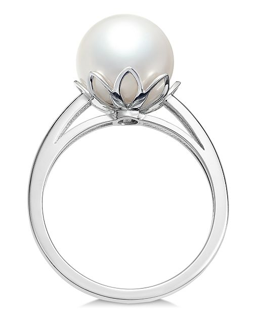 Macy's Cultured White South Sea Pearl (10mm) Ring in 14k White Gold