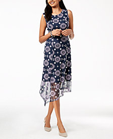 Alfani Petite Embroidered Asymmetrical Midi Dress, Created for Macy's