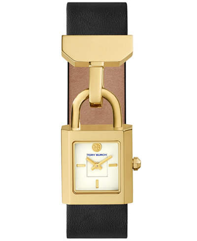 Tory Burch Women's Surrey Black Leather Strap Watch 22x24mm
