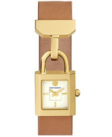 Tory Burch Women's Surrey Light Brown Leather Strap Watch 22x24mm