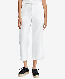 Polo Ralph Lauren Cropped Twill Wide-Leg Cotton Pants