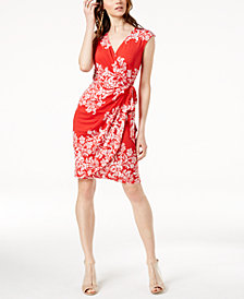 I.N.C. Printed Side-Tie Wrap Dress, Created for Macy's