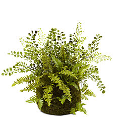 Nearly Natural Mixed Fern with Twig & Moss Basket