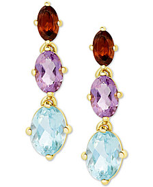 Multi-Gemstone Drop Earrings (3-3/8 ct. t.w.) in 18k Gold-Plated Sterling Silver