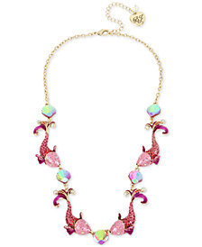 "Betsey Johnson Two-Tone Crystal Fish Collar Necklace, 16"" + 3"" extender"