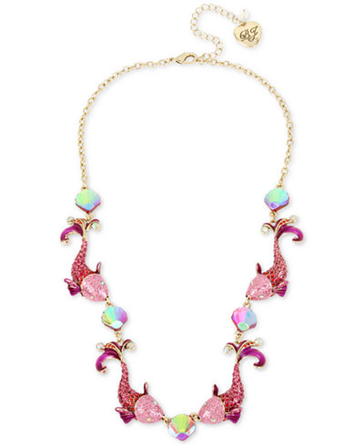 Betsey Johnson Two-Tone Crystal Fish Collar Necklace, 16