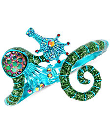 Betsey Johnson Blue-Tone Crystal & Glitter Seahorse Bangle Bracelet