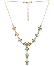 "RACHEL Rachel Roy Gold-Tone Colored Stone Leaf Y Necklace, 14-1/2"" + 2"" extender"