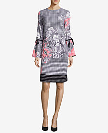 ECI Printed Bell-Sleeve Sheath Dress