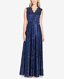 Tahari ASL Ribbon-Tie Lace Gown
