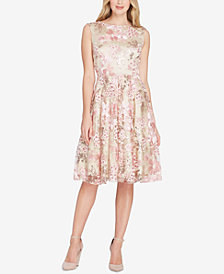 Tahari Sequined & Embroidered Dress