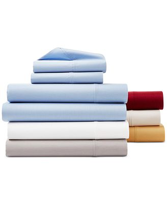 AQ Textiles York NuPercale 600 Thread Count 4-Pc. Extra Deep Queen Sheet Set, Created For Macy's