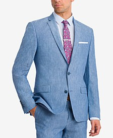 Men's Slim-Fit Blue Chambray Suit Jacket, Created for Macy's
