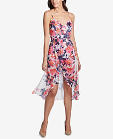 kensie Floral-Print Ruffled Romper Dress