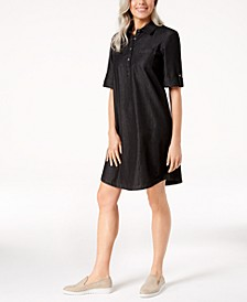 Petite Cotton Denim Shirtdress, Created for Macy's