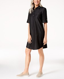 Karen Scott Cotton Chambray Shirtdress, Created for Macy's