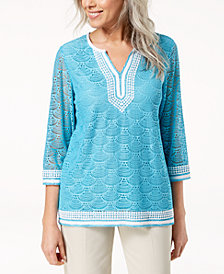 Alfred Dunner Petite Crochet-Trim Lace Tunic