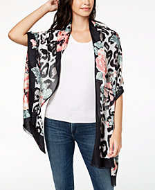 I.N.C. Floral Leopard-Print Scarf & Wrap in One, Created for Macy's