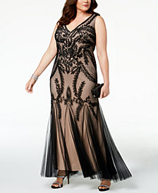 Betsy & Adam Plus Size Soutache Godet Gown