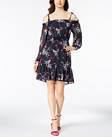 Nine West Floral-Print Cold-Shoulder Dress